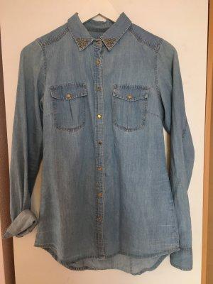 Pull & Bear Camisa vaquera azul claro