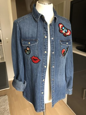 Jeanshemd mit Patches Gr. 38