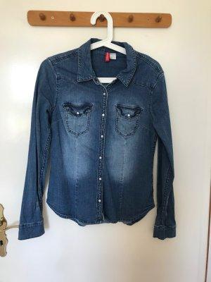 H&M Divided Denim Shirt dark blue cotton