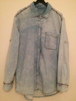 Zara Chemise en jean bleu azur coton