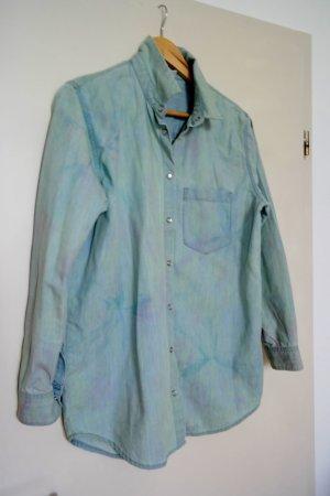 Jeanshemd Monki Denim Shirt Batik Muster Fashion Trend Blogger Oversized Boho
