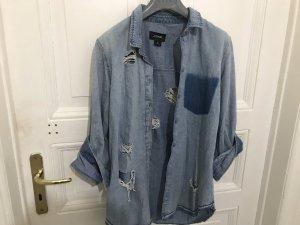 Monki Denim Shirt azure-blue
