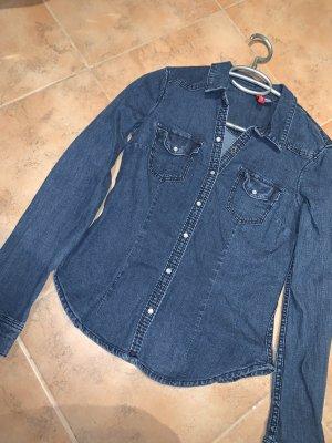 H&M Camicia denim blu scuro-blu
