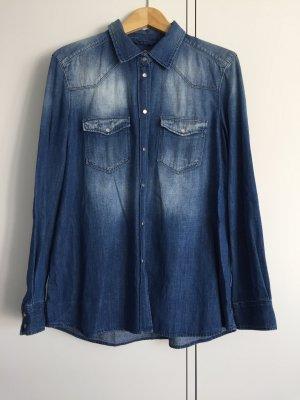 7 For All Mankind Chemise en jean bleu acier-bleu foncé coton
