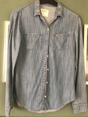 Abercrombie & Fitch Camisa vaquera azul celeste-gris pizarra