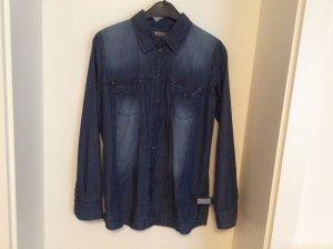 Comma Blouse en jean bleu acier