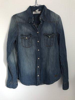 H&M L.O.G.G. Denim Shirt blue-steel blue