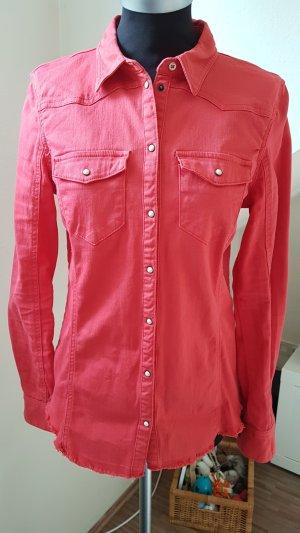 Chemise en jean rouge