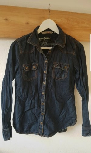 Tom Tailor Blouse en jean bleu foncé