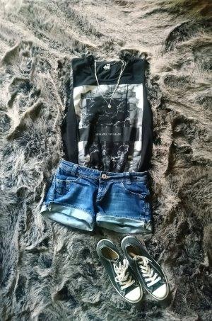 Cross Denim Shorts dark blue