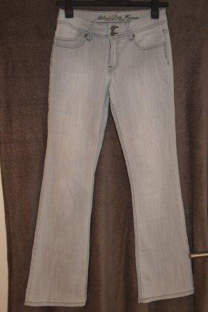 Blind Date Pantalon pattes d'éléphant blanc-gris clair tissu mixte