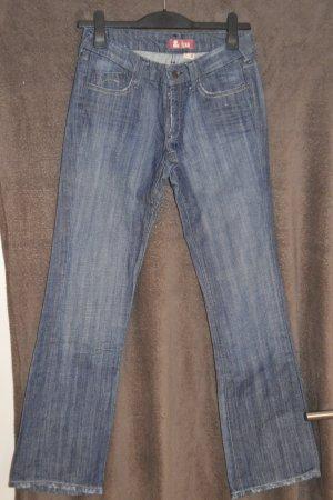 Pantalon taille basse blanc-bleu foncé tissu mixte