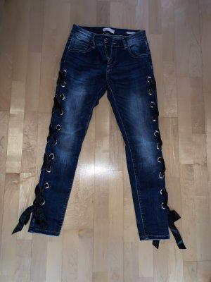 Jeans a carota blu-nero