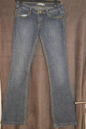 Pantalon boyfriend blanc-bleu foncé tissu mixte