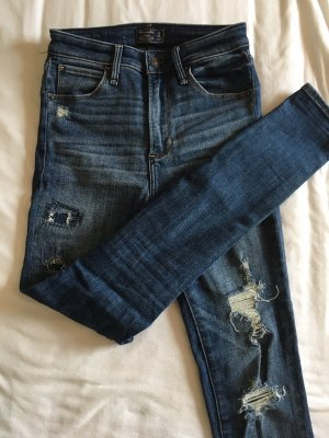 Abercrombie & Fitch Hoge taille jeans donkerblauw