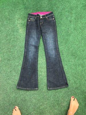 Fishbone Pantalon pattes d'éléphant bleu foncé