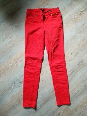 H&M Pantalon strech rouge brique coton
