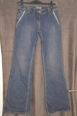 Orsay Pantalon boyfriend blanc-bleu foncé tissu mixte