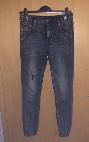 Stradivarius Hoge taille jeans grijs-zwart