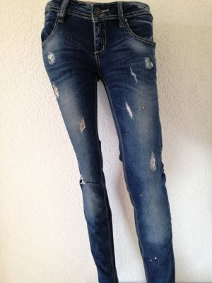 Jeanshose mit Strass Risse Used Look Jeans Hose