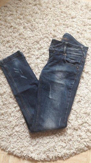 Fishbone Pantalon taille basse bleu foncé