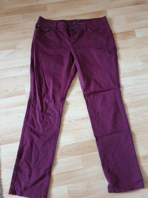 Zero Jeans a vita alta bordeaux Cotone