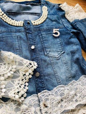 Veste en jean blanc-bleu azur