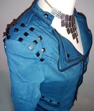 Giacca denim blu fiordaliso-blu