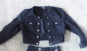 Jeansjacke Crop schwarz H&M cool 34 XS