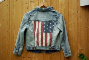 Jeansjacke Denim crop oversize Review cropped american flag