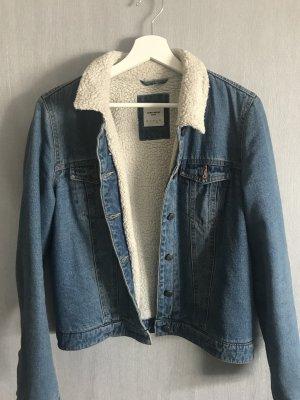 Jeansjacke gefüttert mit Kunstfell Fell Übergangsjacke Vintage