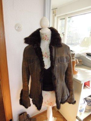 Fur Jacket brown-olive green