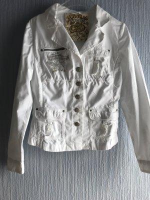 Veste en jean blanc-argenté coton