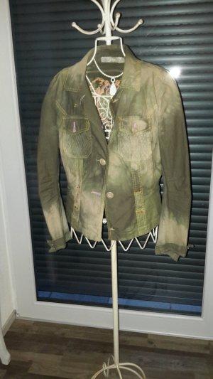 Jeansjacke grün bestickt