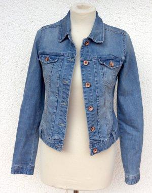 Jeansjacke hell Vintage Look Used Waschungen - Grunge Jacke aus Jeans