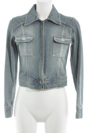 Veste en jean bleu azur moucheté style urbain