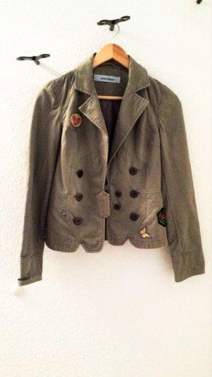 Jeansjacke in Military Stil von VERO MODA mit Applikationen, khaki, Gr. 36