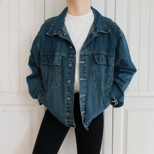 Jeansjacke Jeans jacke True Vintage XL oversize Jeanshemd Bikerjacke