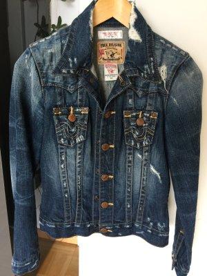 True Religion Veste en jean bleu foncé coton
