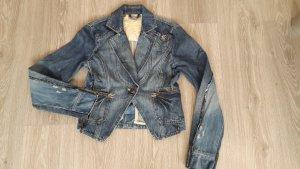Jeansjacke, Mango-Jeans, blue-used, Kragen, sehr tailliert, Frack-Schnitt