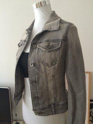 Jeansjacke mit Destroyed-Waschung grau