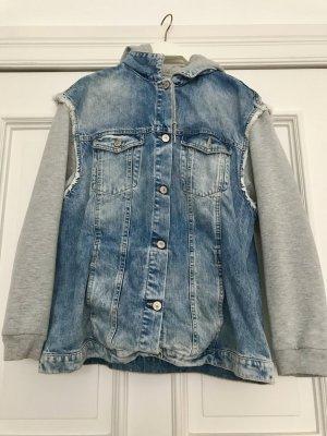 Zara Veste en jean argenté-bleu fluo coton