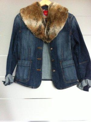 Jeansjacke mit Fellkragen Esprit Gr. 40