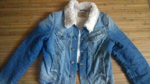 Jeansjacke mit komplett Fellfütterung