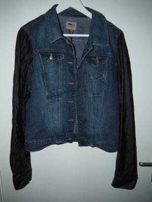 Jeansjacke mit Lederärmeln von Only