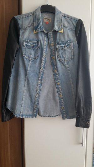 Jeansjacke mit Lederarm|Größe 34|Only