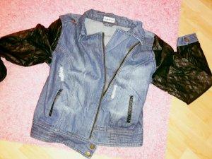 Jeansjacke mit Lederoptik