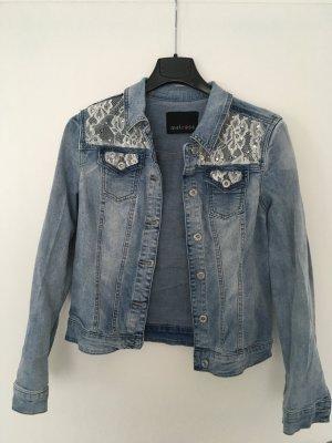 Melrose Veste en jean bleu azur-blanc