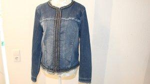 Jeansjacke mit Stickerei vorne