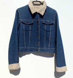Jeansjacke mit Teddy Futter Felljeansjacke